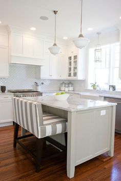 Love The Long, Striped Bench, The White Cupboards And Marble Countertops.  Beautiful.