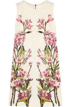 Dolce & Gabbana Floral-print cotton-blend jacquard mini dress | NET-A-PORTER