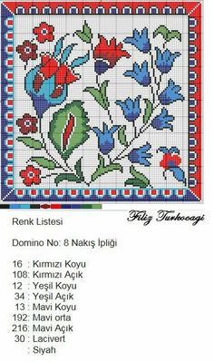 Çini Cross Stitch Pillow, Cross Stitch Bird, Cross Stitch Borders, Cross Stitch Flowers, Cross Stitch Charts, Cross Stitch Designs, Cross Stitching, Cross Stitch Patterns, Diy Embroidery
