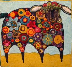 Dale Young-Wheeler used Karla Gerard's Abstract Sheep to create a delightful piece  hooked in the mountains 3: some of my favourites via bird brain designs