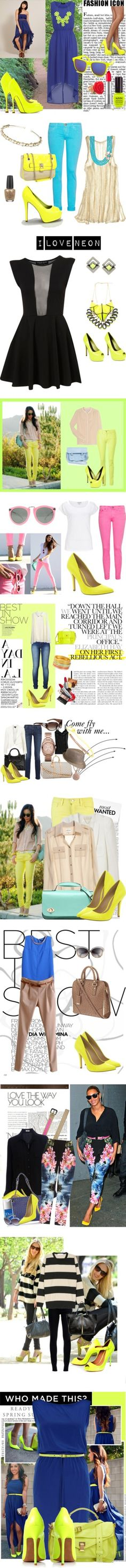 """""""Neon Yellow Pumps"""" by everythingfashion1591 ❤ liked on Polyvore"""