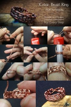 Celtic Knot Ring Wire Wrap Tutorial Pdf, by Timeless Tempest Learn how to make this elegant celtic knot wire wrap ring in this wire wrapping tutorial by Bobi Allen on www. Wire Jewelry Rings, Wire Jewelry Making, Wire Jewelry Designs, Handmade Wire Jewelry, Copper Jewelry, Jewelry Crafts, Wire Earrings, Jewellery Making, Celtic Wire Jewelry
