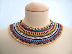 Statement Necklaces – Nefertiti Collar 2 - Crochet Statement Necklace – a unique product by bibatron on DaWanda