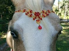 Red Rhinestones and Gold Browband for Pony Horse by MyBuddyBling