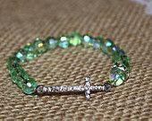 Girls Small Green w/ Silver Rhinestone Sideways Cross Bracelet for Modern Style, Layering, Teens, Faith, Mother's Day, Easter, & Communion