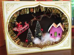 Vintage Shiny Brite Shadow Box / Diorama - Santa & Sleigh at Night by Kitschland on Etsy https://www.etsy.com/listing/207774463/vintage-shiny-brite-shadow-box-diorama