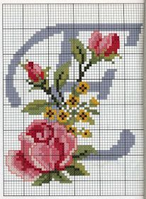 Steel Blue with Roses Alphabet Cross Stitch Pattern ♥♥ E Cross Stitch Letters, Cross Stitch Rose, Cross Stitch Flowers, Cross Stitch Charts, Cross Stitch Designs, Cross Stitching, Cross Stitch Embroidery, Hand Embroidery, Beading Patterns