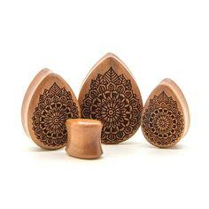Mandala Saba Teardrop Wood Plug - Custom Flesh Plugs & Gauges, Alternative, Tattoo - Engraved Woods - 1
