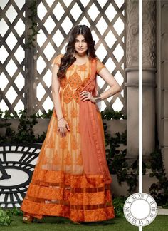 Mruga Orange Net Dress Material #Anarkali #Orange
