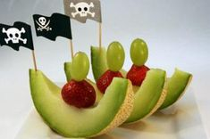 Healthy pirate food. Maybe apple slices and pineapple with a pirate flag pick