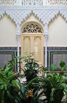 Patio interior de estilo mudéjar en una casa de Fregenal en Badajoz