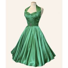 vivien of holloway green satin fifties wedding dress Forest Green Dresses, Green Wedding Dresses, Vestidos Vintage, Vintage Dresses, Nice Dresses, 1950s Dresses, Bridesmaid Dresses Under 100, Bridesmaids, Circle Dress