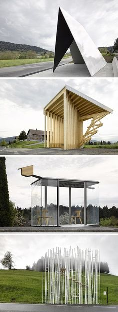 What Happens When You Let Top Architects Design Bus Stops. Change needs to come to bus stops because they are so dull Amazing Architecture, Contemporary Architecture, Art And Architecture, Architecture Diagrams, Architecture Portfolio, Urban Furniture, Street Furniture, Furniture Design, Bus Stop Design