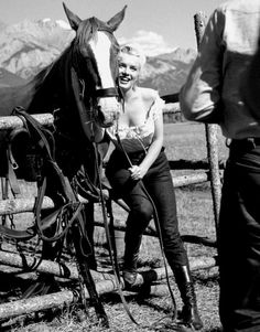 """Marilyn Monroe on the set of River of No Return, 1953. """
