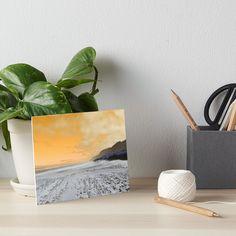 """Beach with white sand and pebbles with orange sky"" Art Board Print by Artlajf   Redbubble Sunset Beach, Sunset Art, Pink Sunset, Paradise Island, Orange Sky, Water Art, Light Beam, Amazing Sunsets, Sea Art"