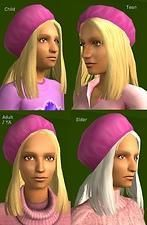 Mod The Sims - beret hair, tucked under hat - child to elder - works like Maxis hats Teen Pink, Hair Tuck, Face Change, Download Hair, Long Wavy Hair, Hair Shows, Cable Sweater, Hat Hairstyles, Hair Color For Black Hair