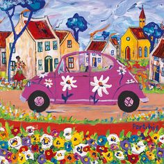 Pink Beetle by Portchie (Alice Art Gallery) Colorful Art, Vw Art, Art Painting, Elementary Art Projects, Naive Art, Whimsical Art, Illustration Art, Art, African Art Paintings