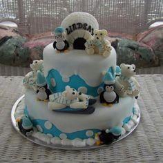 Polar bear themed birthday cake.