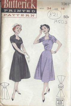 "1950s Vintage Sewing Pattern B34"" DRESS (R21) 