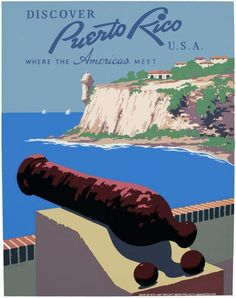 This poster by WPA artist Frank S. Nicholson shows a view of San Juan Harbor from Morro Castle: 'Discover Puerto Rico U.S.A. Where the Americas Meet' The vintage travel poster was created as part of the Works Progress Administration Federal Art Project in New York City, c. 1940.