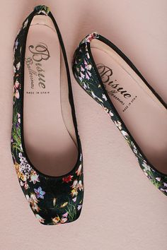 Slide View: 5: Bisue Ballerinas Square-Toe Floral Ballet Flats