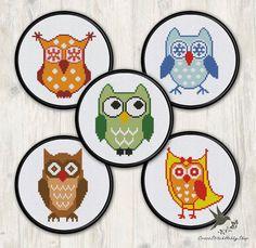 FIVE Owl Cross Stitch Patterns collection2 modern cross