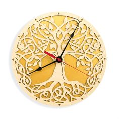BLACK FRIDAY SALE, Tree of Life, Sacred Geometry, Lagre Wall Clock, Modern Clock, Wooden Wall Clock, Unique gift clock, Golden Tree of Life