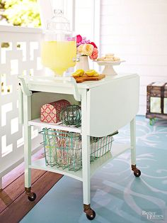 What could be more versatile -- or more adorable -- than a traveling cart on casters bubbling with drinks, snacks, and other party essentials?
