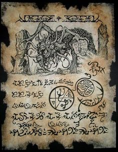 YOG SOTHOTH RITUAL cthulhu larp Necronomicon Fragment by zarono www.etsy.com570 × 732Search by image THE THING in the TEMPLE cthulhu Necronomicon Fragment larp magick dark art lovecraft monsters