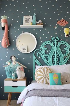 More Fun Childrens Bedroom Ideas for girls on the blog using mimilou decals   colorful kids rooms Kids bedrooms   children's rooms   little ones   nursery