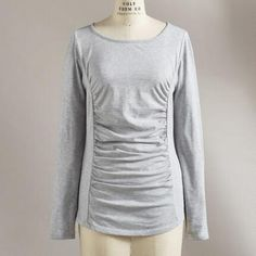 PRINCESS RUCHED LONG-SLEEVE TOP  make in a rich jewel tone knit