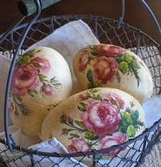 Really beautiful eggs with roses on them in a basket. What a lovely display. maybe decoupage floral napkins on those plastics eggs i have laying around. Egg Crafts, Easter Crafts, Easter Projects, Easter Ideas, Easter Table, Easter Eggs, Decoupage, Easter Parade, Egg Art