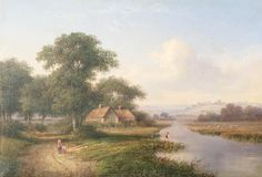 River-Valley-with-Angler and Cottages-by-Walter-Heath-Williams-1835–1906