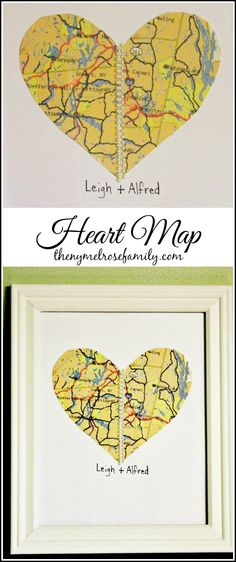This Heart Map is the perfect gift idea for Valentine's Day! Pair it with a classic white frame: http://www.pictureframes.com/White-Picture-Frames.