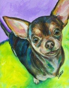 Chihuahua Dog Art 8x10 Print Chichi Painting by DottieDracos
