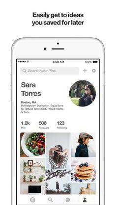 screenshot of Pinterest iOS application