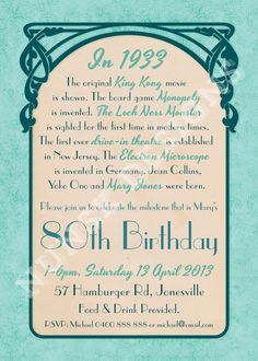 Impress your family and friends with this custom designed Birthday Party Invitation, complete with fun facts for the year of birth! 80th Birthday Invitations, 90th Birthday Parties, Dad Birthday, Birthday Celebration, Birthday Wishes, Birthday Ideas, Birthday Cakes, Happy Birthday, Birthday Recipes