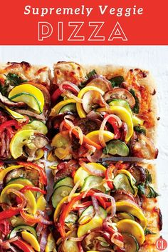 By skipping the sodium-laden meats, we pack a full serving of vegetables into each square, thereby doubling the fiber of most pizza . Healthy Homemade Pizza, Healthy Pizza Recipes, Cooking Recipes, Vegetarian Recipes, Weeknight Recipes, Cooking Ideas, Week Of Healthy Meals, Healthy Meal Prep, Healthy Eating