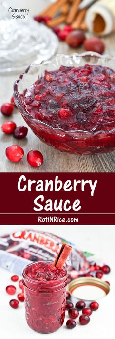 Classic Cranberry Sauce simmered in orange juice together with cinnamon, nutmeg, cloves, and raisins. It is a must-have for Thanksgiving. | http://RotiNRice.com