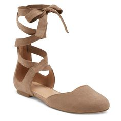 Women's Tess Ghillie Flat Lace Up Ballerina Round Toe Ballet Flats - Taupe (Brown) 5.5