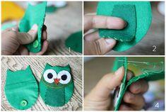 felt owl coin purse- good beginner sewing project.