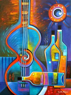 Giclee Print on canvas from my Original Abstract Cubism Painting Music And Wine Marlina Vera Fine Art Gallery Modern Artwork