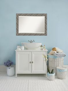 Amanti Art Silver Luxor Wood 34 in. W x 28 in. H Single Contemporary Bathroom Vanity Mirror - The Home Depot Wall Mirrors Entryway, Rustic Wall Mirrors, Living Room Mirrors, Distressed Bathroom Vanity, Single Bathroom Vanity, Bathroom Wall, Bathroom Ideas, Loft Bathroom, Silver Bathroom