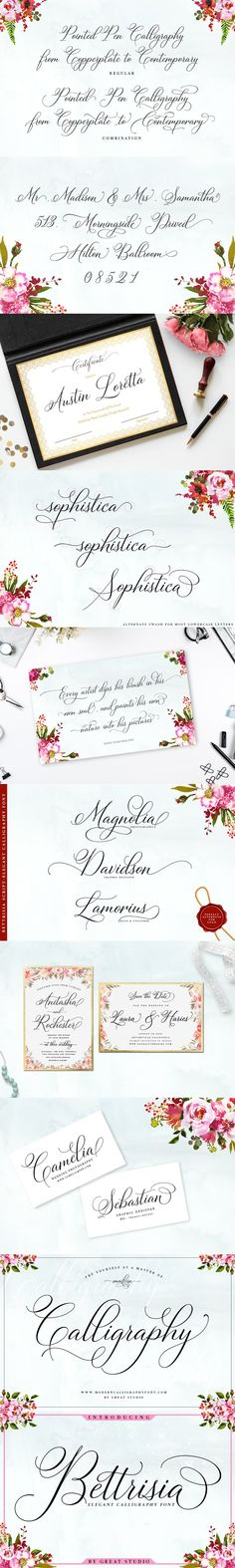 Bettrisia Script is a modern and elegant calligraphy script font that comes with very beautiful character changes, a kind of classic decorative copper script Modern Fonts, Elegant Fonts, Open Type, Menu Design, Menu Restaurant, Script Fonts, Font Styles, Cool Fonts, Glyphs
