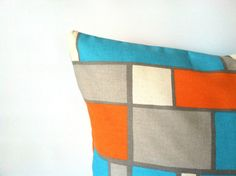 Tetris, Anyone? Turquoise Orange Pillow Covers  18 x 18 One by PillowStyles, $19.50