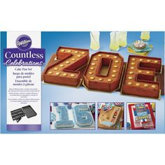 One pan, many possibilities. This versatile cake pan makes it easy to personalize any party to celebrate every special occasion. Use one pan to bake cakes shaped like letters from A to Z and numbers 0 to 9 perfect  plus exclamation points, questions marks, and dollar signs. This bakeware is perfect for making unique birthday cakes, graduation cakes, or cakes for anniversaries, engagements and so much more.