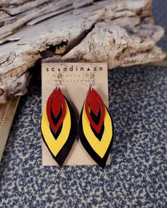 Red and Yellow Ochre Leif Earrings / Recycled Leather with Silver Plated Hooks \\ \\ \\