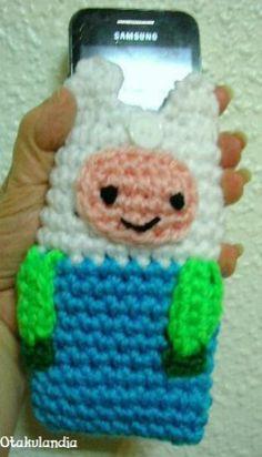 Funda para móvil de Finn, personaje estrella de Hora de Aventuras, realizada a mano en crochet, tamaño: 14 X 7 cm