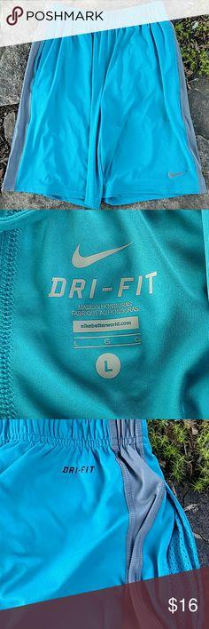 Nike drifit basketball shorts Large Aqua with gray trim, super lightweight Nike shorts. Shorts are in EUC and have mesh lined pockets. Nike Shorts Athletic