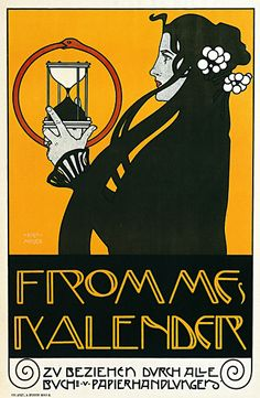 Poster for Fromme's Calendar - Koloman Moser; Graphically at the intersection of art nouveau and Art Deco. Illustration Art Nouveau, Art Nouveau Poster, Poster Art, Retro Poster, Kunst Poster, Koloman Moser, Posters Vintage, Vintage Art, Vintage Graphic